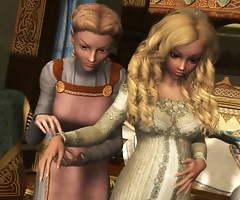 The pregnant princess wanted sex with her maids. Futanari