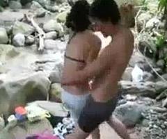 Students having fun riverside