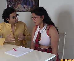Busty Indian teen schoolgirl deep-throats teacher's dick