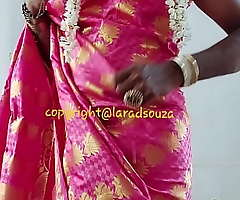 Indian crossdresser carve Lara D'Souza saree video3