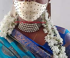 Indian magnificent crossdresser model in blue saree