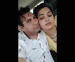 Indian sweltering Punjabi bhabhi on car in yellow salwar