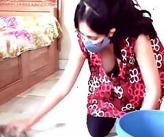 Kannada girl washing boobs at home