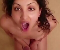 Indian college girl gives sensual wide eyes blowjob alongside cum pay off POV Indian