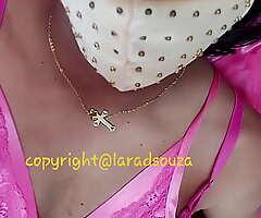 Indian crossdresser model Lara D'Souza in Nautical port satin nighty