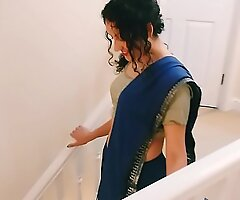 Desi youthful bhabhi strips from saree to make laugh you Christmas tangible POV Indian