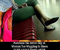 (Candid) Indian Lady Black Flats Toe Wiggle