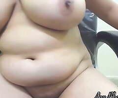 Anu Bhabhi milking her huge tits like crazy during cam fun