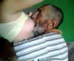 Papa drinking young girl's milk