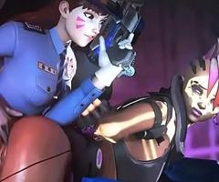 Officer D.VA X Sombra Overwatch animation older