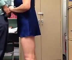 Busty aunty playing boss collision approximately work place