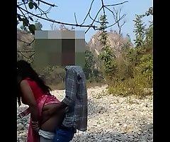 Delhi hotwife Ada getting fucked by hubby in open jungle.